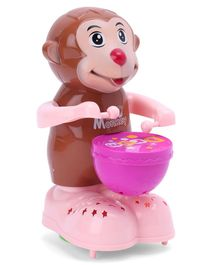 Wind Up Happy Monkey Toy With Drum - Pink Brown