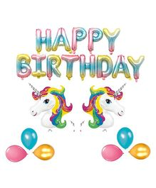 Balloon Junction H.B Letter Foil Balloons Birthday Decoration Set Unicorn Printed - Pack of 45