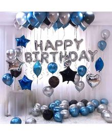 Balloon Junction Birthday Balloons With Stars Blue Black - Pack of 47