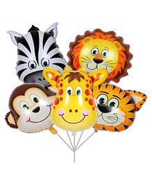 Balloon Junction Animal Face Foil Balloons - Pack of 6