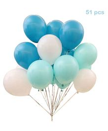 Balloon Junction Pastel Colour Balloons Aqua Blue White - 51 Pieces