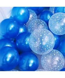 Balloon Junction Metallic BLUE & Transparent STAR Print Balloons  - 50 Pieces
