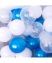 Balloon Junction Metallic Blue,White & Transparent Star Print Balloons - 51 Pieces