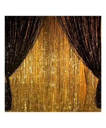 Balloon Junction Shimmer Foil Curtains Golden and Black - Pack of 5