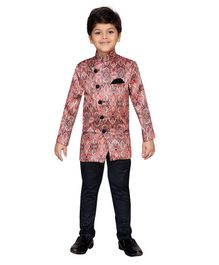Aj Dezines Full Sleeves All Over Design Print Kurta With Straight Fit Pants - Pink