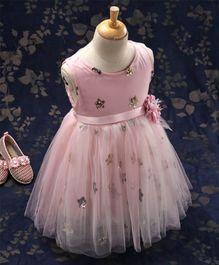 77a82ddadd Kookie Kids Sleeveless Sequin Embellished Party Wear Frock - Pink