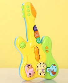 Toy Guitar With Lights & Sounds - Yellow & Green