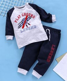 Babyhug Full Sleeves Tee And Lounge Pant Play Ground Print - Light Grey Navy Blue