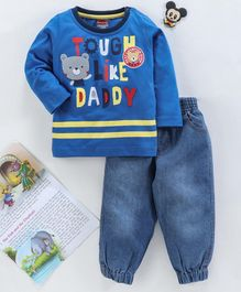 Babyhug Full Sleeves Tee & Denim Bottoms Graphic Print - Royal Blue