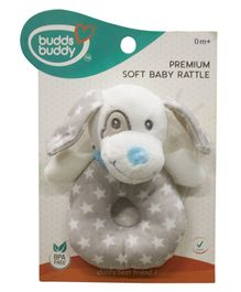 Buddsbuddy Dog Shaped Soft Baby Rattle - Blue