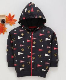 Doreme Full Sleeves Hooded Sweat Jacket Baseball Print - Black