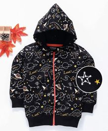Doreme Full Sleeves Hooded Sweat Jacket Space Print - Black