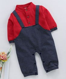 Kookie Kids Dungaree Style Striped Romper - Red