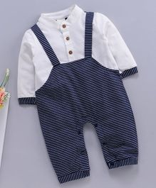 Kookie Kids Dungaree Style Striped Romper - White