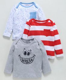 Babyoye Full Sleeves Cotton T-Shirts Pack of 3 Striped Printed - Multicolour