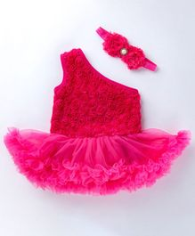 Pre Order - Awabox Flower Applique Sleeveless One Shoulder Frill Onesie With Headband - Red