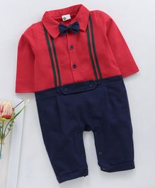 Kookie Kids Full Sleeves Party Wear Romper With Bow - Red Navy Blue