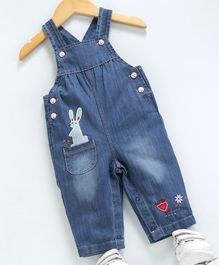 Kookie Kids Sleeveless Denim Dungaree Style Romper Bunny Patch - Blue