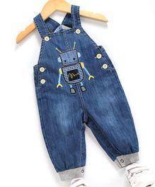 Kookie Kids Sleeveless Dungaree Style Romper Robot Patch - Blue