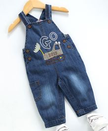 Kookie Kids Full Length Dungaree Style Embroidered Romper - Blue