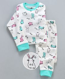 Unicorns Rabbit Printed Full Sleeves Night Suit - White & Blue