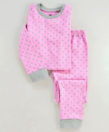 Unicorns Polka Dot Printed Full Sleeves Night Suit - Pink