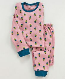 Unicorns Popsicle Printed Full Sleeves Night Suit - Peach