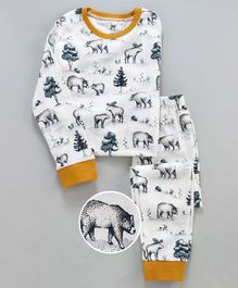 Unicorns Bear Printed Full Sleeves Night Suit - White
