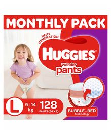 Huggies Wonder Pants Diaper Monthly Pack Large Size - 128 Pieces