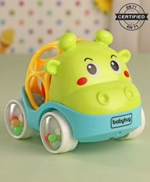 Babyhug Free Wheel Car Cum Rattle Toy - Green