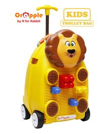 Orapple By R For Rabbit Trolley Luggage Bag With Building Blocks Lion Design Yellow - Height 18 Inches
