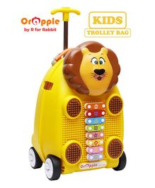 Orapple by R For Rabbit Trolley Luggage Bag With Xylophone Lion Design Yellow - Height 18 Inches