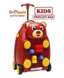 Orapple By R For Rabbit Trolley Luggage Bag With Building Blocks Bear Design Maroon - Height 18 Inches