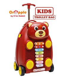 Orapple By R For Rabbit Trolley Luggage Bag With Xylophone Bear Design Maroon - Height 18 Inches