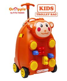 Orapple By R For Rabbit Trolley Luggage Bag With Building Blocks Monkey Design Orange - Height 18 Inches