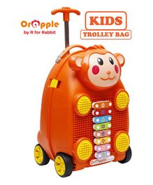 Orapple Trolley Luggage Bag With Xylophone Monkey Design Orange - Height 18 Inches
