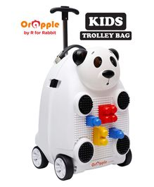 Orapple by R For Rabbit Trolley Luggage Bag With Building Blocks Panda Design White - Height 18 Inches