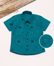 Knotty Kids Half Sleeves Checked Shirt - Green
