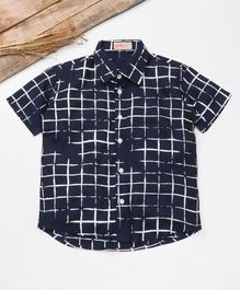 Knotty Kids Checkered Half Sleeves Shirt - Blue