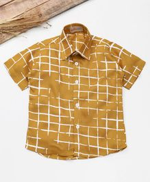 Knotty Kids Checkered Half Sleeves Shirt - Brown
