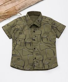 Knotty Kids Scribble Print Half Sleeves Shirt  - Green