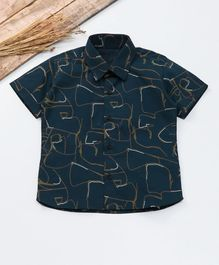 Knotty Kids Scribble Print Half Sleeves Shirt  - Blue