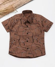 Knotty Kids Scribble Print Half Sleeves Shirt  - Brown