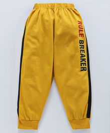 Doreme Full Length Track Pants Rule Breaker Print - Mustard