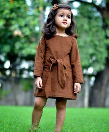 Piccolo Full Sleeves Front Knot Dress - Brown