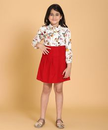 Piccolo Floral Print Full Sleeves Top With Box Pleated Skirt - Red