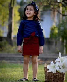 Piccolo Solid Full Sleeves Top With Front Knot Detailing Skirt - Maroon & Blue