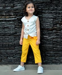 Piccolo Solid Sleeveless Top With Front Knot Pants - Yellow & Off White