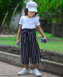 Piccolo Half Sleeves Tee & Striped Paperbag Culottes Set  - Black & white