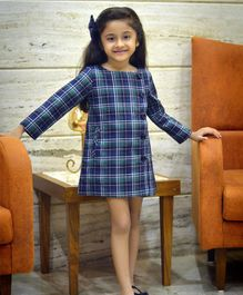 Piccolo Full Sleeves Checked Dress - Blue
